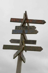 Wooden Signpost at the Crossroads