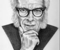 Isaac Asimov in B & W drawing