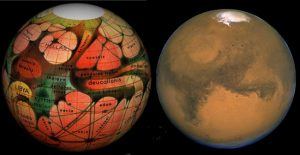 (Left) This 1894 map of Mars was prepared by Eugene Antoniadi and redrawn by Lowell Hess. (Right) A Hubble Space Telescope photo of Mars shows the modern view of our neighboring planet. CREDIT: Tom Ruen, Eugene Antoniadi, Lowell Hess, Roy A. Gallant, HST, NASA