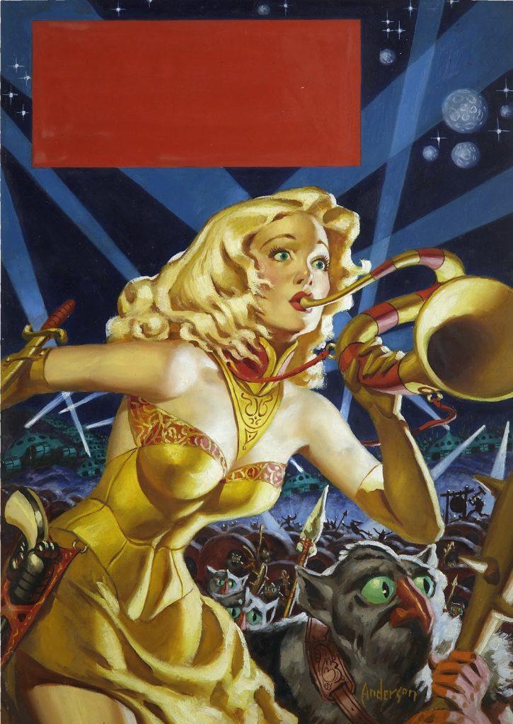 MDJackson_pulp_War Maid of Mars (1953) original painting by Allen Anderson