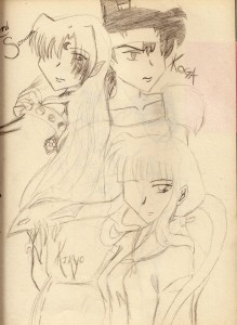 A piece of InuYasha fanart, circa 2004.  I was 14. Yikes.
