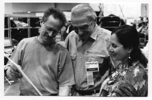 Howard and Jane Frank conferring with Jerry Weist, San Antonio Worldcon 1998  Photo credit: Andrew Porter