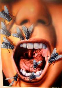 """Cover illustration for """"Fear Itself"""" edited by Jeff Gelb, Warner Books 1995"""