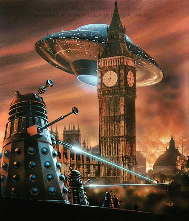 Daleks in London. Copyright David. A. Hardy