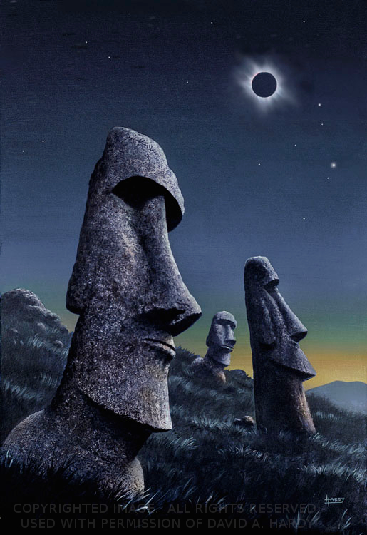 Easter Island Eclipse. Copyright David A. Hardy