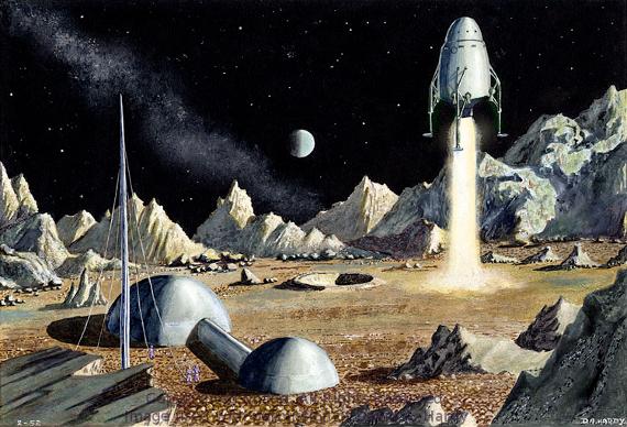 Moon Landing 1952.  Image Copyright David A. Hardy