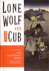 "Kazuo Koike's ""Lone Wolf and Cub,"" started in 1970."
