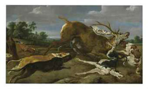 "Paul de Vos ""Dogs Bringing Down a Stag"" c. 1700 painting sold Christies auction"