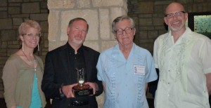 L to R: Kij Johnson, Kevin J. Anderson, James E. Gunn, Chris McKitterick. Photo courtesy of C.J. Harries.