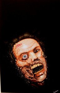 """Terry Oakes """"Maggots"""" cover art in gouache on illustration board, commissioned for the horror novel by Edward Jarvis, published by Arrow (UK) 1987."""