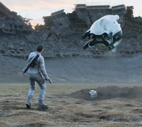 Jack and drone in destroyed football stadium