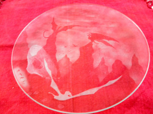 Sand-etched glass plate, one of a set of 8 unique plates created by Taylor Blanchard, commissioned 1991