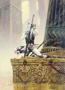 "Michael Whelan cover art for Moorcock's ""Elric at the End of Time"" DAW pb 1985 and Chesley Award Winner"