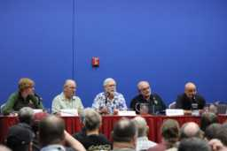 L to R: Laura Burns, Joe Haldeman, Gregory Benford, Albert Jackson, David Brin. Photo by Shawn McConnell.