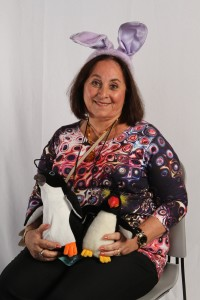 Jane with bunny ears and penguins -  perfect professional attire for LSC3!