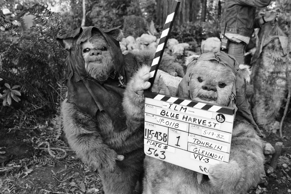 Ewoks seize the clapperboard on May 17, 1982, during second unit work near Crescent City. 215