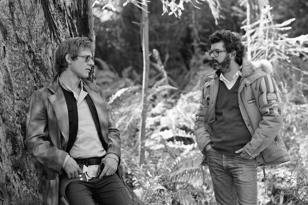Harrison Ford in-between setups chatting with George Lucas