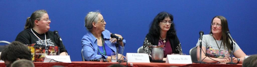 Writing Combat.  L to R: Jean Johnson, Elizabeth Moon, Martha Wells, Elizabeth Bear