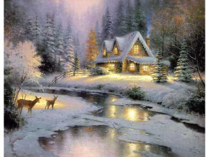 "Thomas Kinkade ""Deer Creek Cottage"" published original, 1995, 16"" x 20"" Painting available for $135,000 and includes expense paid trip for two to the gallery and personal meeting with Kinkade's brother."