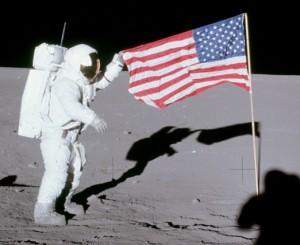 Apollo 12 flag held by Conrad