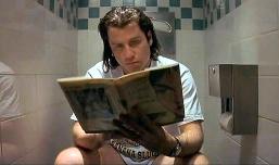 "Travolta Reads Modesty Blaise in Tarantino's ""Pulp Fiction"""