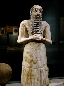 Standing male worshipper, in alabaster marble from Mesopotamia, 2750-2600 BCE.  The jury is still out on sculptures made from Sculpey, c. 1960 CE