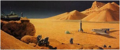 Chesley Bonestell's depiction of Mars from The Exploration Of Mars