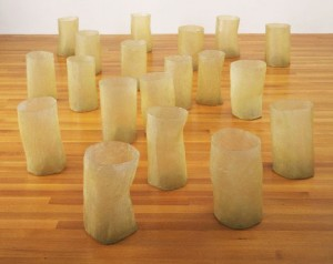 "Eva Hesse ""Repetition Nineteen III"" (1968) 19 units made from fiberglass and polyester resin in an arrangement that varies with each installation"