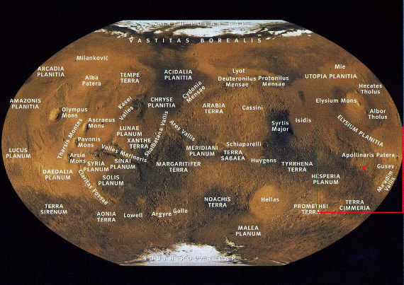 A modern map of Mars with the general area of the exploits of the Ares Expedition identified.