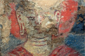 The oldest known oil painting, dating from the 7th century CE, is one of a group of Buddhist murals discovered in Afghanistan's famed Bamian Caves, 2008,
