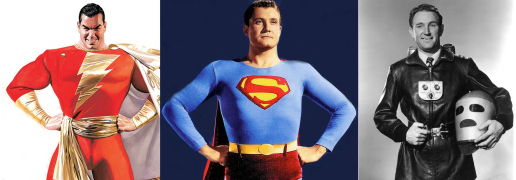 3 Heroes: Captain Marvel, Superman, Commando Cody