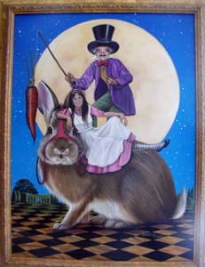 "Carol Heyer ""Jane and the Mad Hatter"" Christmas, 1999. Acrylic, 24"" x 18"""