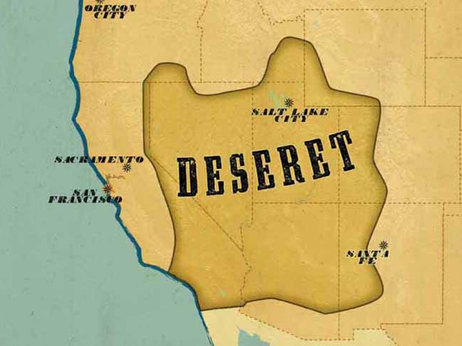 """Map of Deseret from """"Lost States"""" by Michael J. Trinklein."""