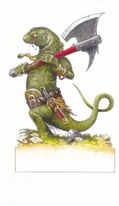 Gourgaz lizard with axe
