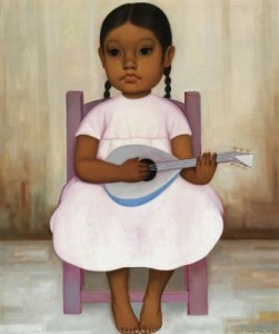 """Gustavo Montoya (1905-2003) """"Girl with a Guitar"""" Mexican artist."""