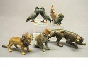 Example: Small group of Austrian cold-painted miniature bronze animals, early 20th C. sold at Bohhams, 2010.
