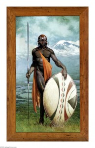 """Frank Frazetta """"Masai Warrior"""" large oil painting, """"Passed"""" at Heritage auctions 2/7/04, 11/18/05, 1/21/06."""