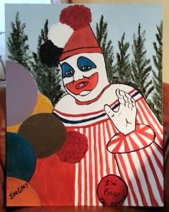 """J.W. Gacy """"Pogo the Clown"""" oil. Sold."""