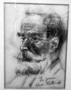 "Vuk Vuchinich (1901-1974) ""Impromptu Sketch of a Bearded Man""  Charcoal on paper, c. 1952-1954"
