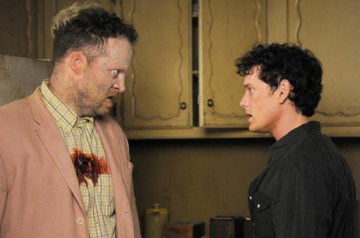 Figure 4 - Fungus Man (Hensley) and Odd (Yelchin) face off