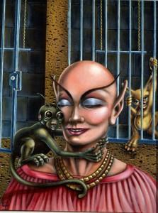 "Jill Bauman ""Interplanetary Zoo"" 1978 Oil on canvas, 18"" x 14"""