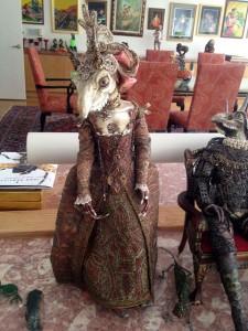 "Adnan Karabay (d. 1998) ""Gorgonnia Boria"" one of a trio of dressed dolls in a tableaux, created from animal bones"