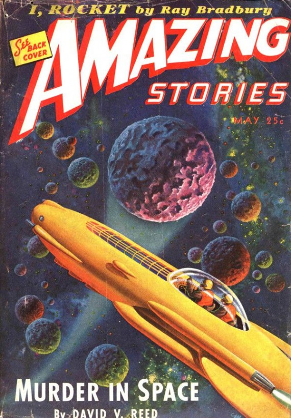 Amazing Stories May 1944, featuring Bradbury's I, Rocket original publication