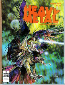 "Clyde Caldwell ""Lady on Dragon"" personal work c. 1976 subsequently a Heavy Metal cover, Aug 1978 issue. Acrylic, 26"" x 20"""