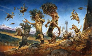 "Justin Gerard ""Ents Marching on Orthanc"" private commission, 2014. Oil on panel, 30"" x 50"""