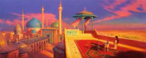 "Mark Harrison ""The Sultan's Favourite"" Personal work, oil on canvas, 15.75"" x 39"""