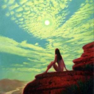 "Mark Harrison ""Moonlight"" personal work, oil on canvas 15.75"" x 15.75"""