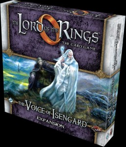 "Lord of the Rings: ""The Voice of Isengard"" CCG exapansion set box cover as published, art by Matt Stewart"