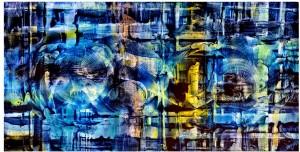 "Alan M. Clark ""'the Underground in Ruins"" Personal work, 2014. Acrylic on hardboard, 2' x 4'"