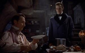 Peter Cushing and Francis Matthews in The Revenge of Frankenstein